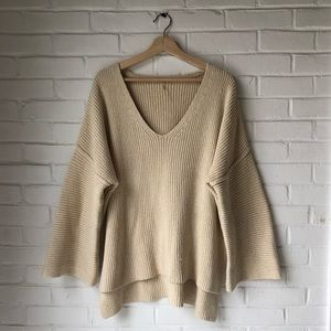 Free People v neck ribbed sweater